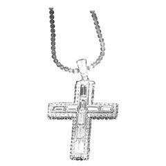 Baguette and Round Diamond Cross Pendant by House of Baguettes