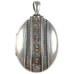 Antique Victorian Sterling Silver Locket, Birmingham, 1881