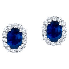 4.05 Carat Oval Natural Blue Sapphires with 1.13 Carats Round Diamonds, Earrings