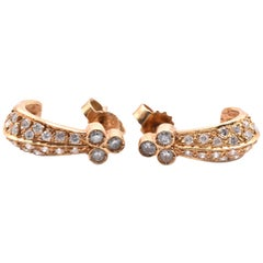 18 Karat Yellow Gold Diamond Fish Hook Earrings