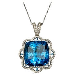 23.71 Carat Topaz Carats White Gold Pendant Necklace