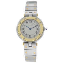 Ladies Cartier Santos Ronde 18 Karat Yellow Gold Quartz Watch