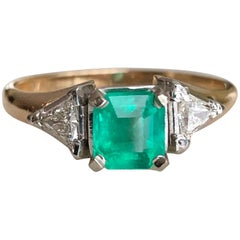 Vintage Colombian Emerald Triangular Diamond Three-Stone Engagement Ring