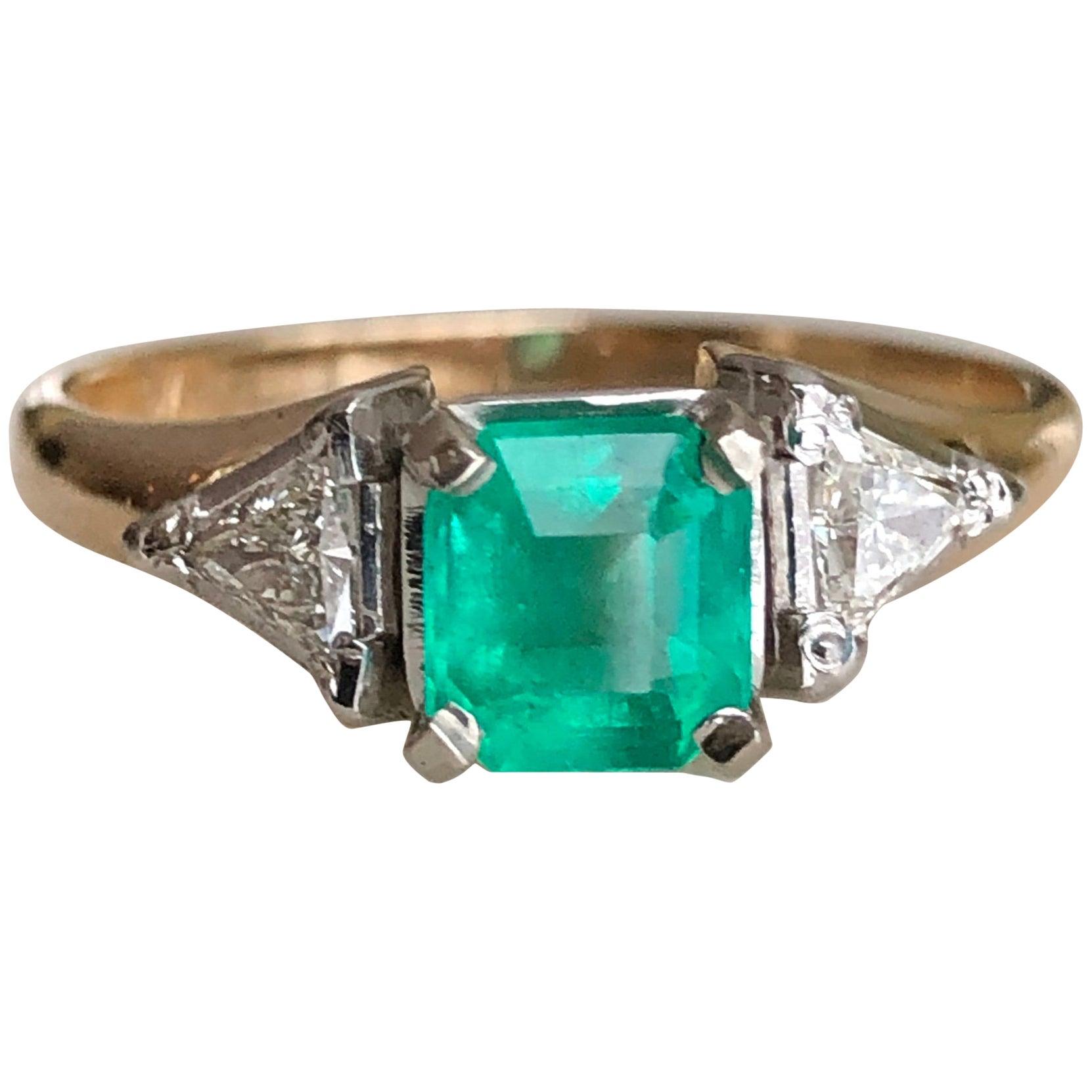 Vintage Colombian Emerald Triangular Diamond Three-Stone Engagement Ring