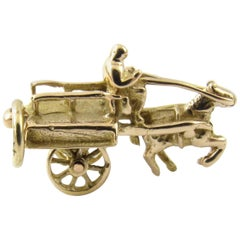 10 Karat Yellow Gold Horse and Cart Charm