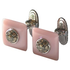Brown Diamond Pink Opal Gold Cufflinks Handcrafted by Margherita Burgener, Italy