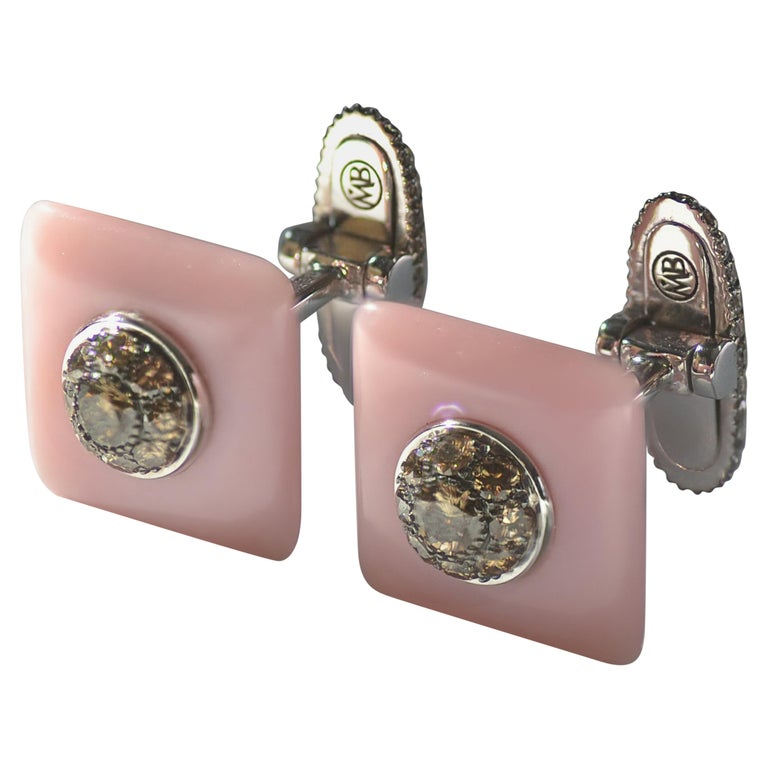 Margherita Burgener Brown Diamond Pink Opal 18 KT Gold Handcrafted Cufflinks  For Sale