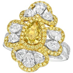 GIA Certified 1.03 Carat Fancy Deep Brownish Greenish Yellow Diamond Ring