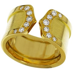 Cartier Double 2C Diamond 18 Karat Yellow Gold LM Ring