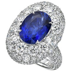 GRS Certified 6.24 Carat Ceylon Blue Sapphire Ring 'Heated'