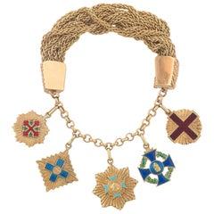 Enamel Gold Military Order Charm Bracelet