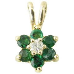 14 Karat Yellow Gold Emerald and Diamond Pendant