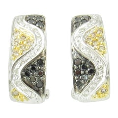 14 Karat White Gold Black and White Diamond Earrings