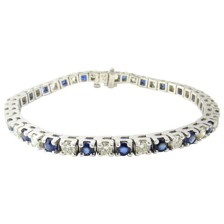 14 Karat White Gold Sapphire and Diamond Bracelet For Sale