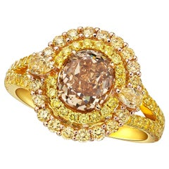 GIA Certified 1.40 Carat Fancy Yellow- Brown Diamond Ring