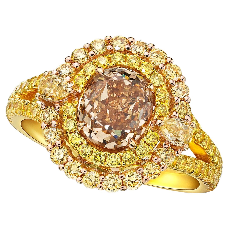 GIA Certified 1.40 Carat Fancy Yellow- Brown Diamond Ring