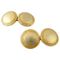 Bulgari 18 Karat Yellow Gold and Enamel Cufflinks
