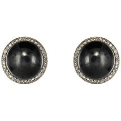 20th Century Hematite Diamonds Platinium Gold Stud Earrings