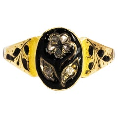 Victorian Rose Cut Diamond Forget Me Not Enamel and 15 Carat Gold Ring