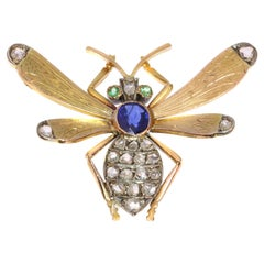 Victorian Queen Bee Brooch with Diamonds, Sapphire and Emeralds