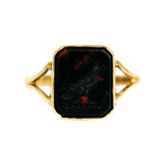 Mid-19th Century Bloodstone with Bird Engraving and 9 Carat Gold Signet Ring