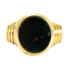 Vintage Bloodstone and 9 Carat Gold Signet Ring