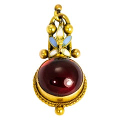 Late Georgian Cabochon Garnet, Enamel and 18 Carat Gold Pendant