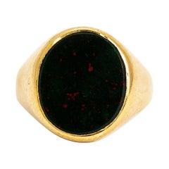 Vintage Bloodstone 9 Carat Gold Signet Ring