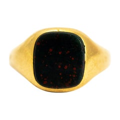 Late Georgian Bloodstone and 18 Carat Gold Signet Ring