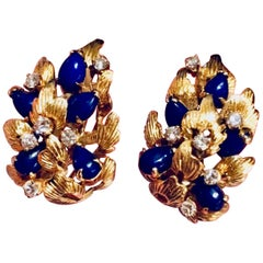 Estate 18 Karat Lapis Lazuli Vs Diamond Stud Drop Pierced Earrings