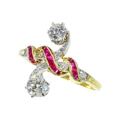 Most Elegant Engagement Ring with Rubies and Diamonds a So-Called toi et moi