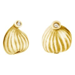 14 Karat Yellow Gold Contemporary Earrings by Artist with Diamonds