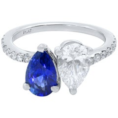 Sapphire Diamond Two-Pear Shape Cross Over Ring Platinum
