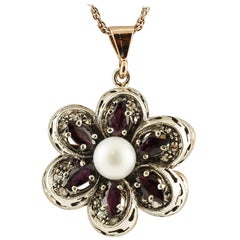 Rubies, Diamonds, White Pearl, 14 Karat Rose Gold and Silver Flower Pendant