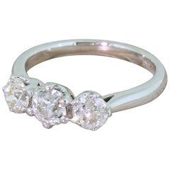 1.44 Carat Old Cut Diamond Trilogy Ring
