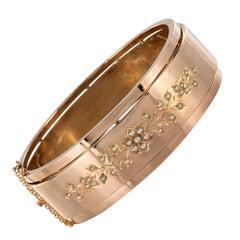 French Napoleon III Natural Pearl 18 Karat Rose Gold Bangle Bracelet
