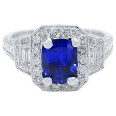 Cushion Cut Sapphire Vintage Inspired Diamond Ring 18 Karat White Gold