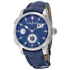 Ulysse Nardin Dual Time Manufacture Stainless Steel Leather Strap Men's Watch