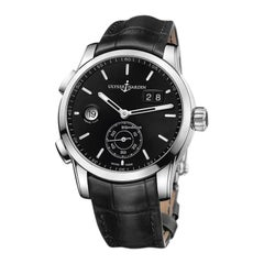 Ulysse Nardin Dual Time Manufacture Stainless Steel, Leather Strap Men's Watch
