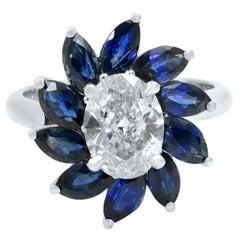 Oval Diamond Marquise Sapphires Halo Diamond Engagement Ring 18K White Gold
