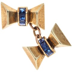 Art Deco 14 Karat yellow Gold Sapphire Bow Cufflinks 1930