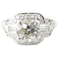 1.75 Carat Platinum Old Mine Diamond Engagement Ring