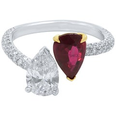 Ruby Diamond Two Pear Shape Cross Over Handmade Platinum/Yellow Gold Ring