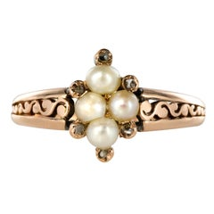 French Napoleon III Natural Pearls Diamonds Cathedral Ring