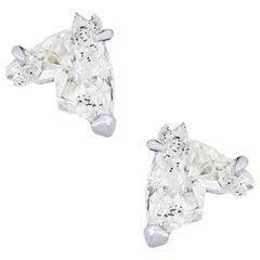 Horse Head Shaped Diamond Stud Earrings