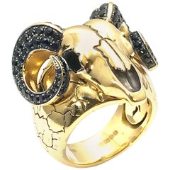 Stephen Webster Black Sapphire Ram 18 Karat Yellow Gold Ram Skull Ring