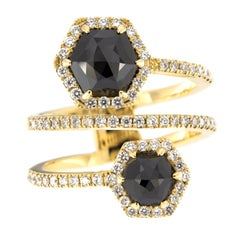 Jona Black Diamond and White Diamond 18 Karat Yellow Gold Crossover Ring Band