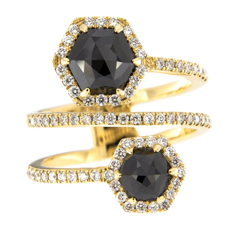 Jona Black Diamond and White Diamond 18 Karat Yellow Gold Crossover Ring Band For Sale