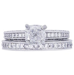 GIA Certified Cushion Cut Diamond Ring and Band Set