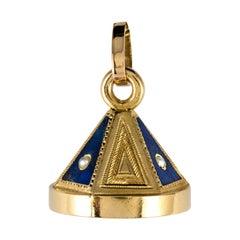 19th Century Lapis Lazuli Natural Pearls Pendant Necklace